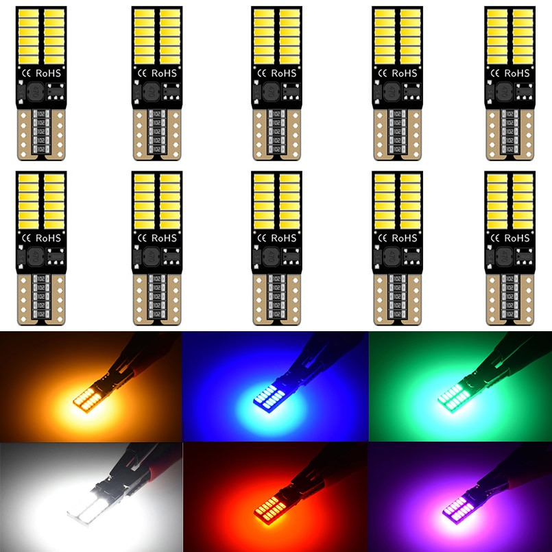 10 Uds LED T10 W5W CanBus bombillas 194 168 sin Error 4014SMD Domo interior del coche lectura frontal luz lateral blanco ámbar rojo verde