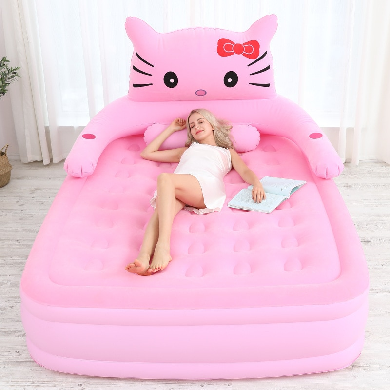 Cama de aire gruesa colchón de aire casa doble portátil cama de aire Simple de dibujos animados cama plegable