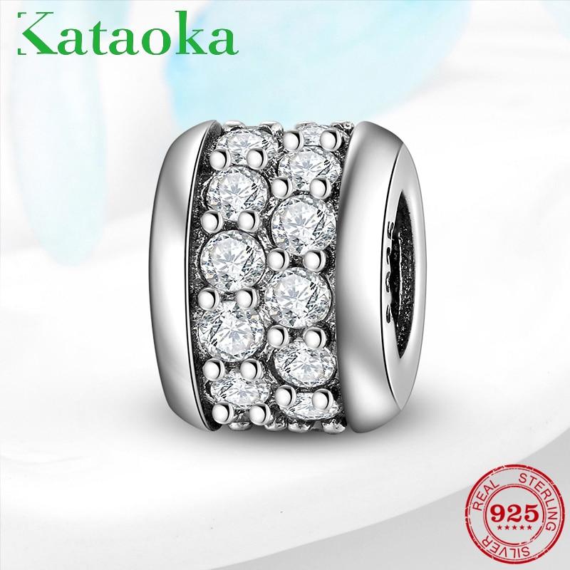 Auténtica Plata de Ley 925, forma de anillo, encantador, claro, CZ Fit Charms, pulsera Pandora Original, collar, fabricación de joyería