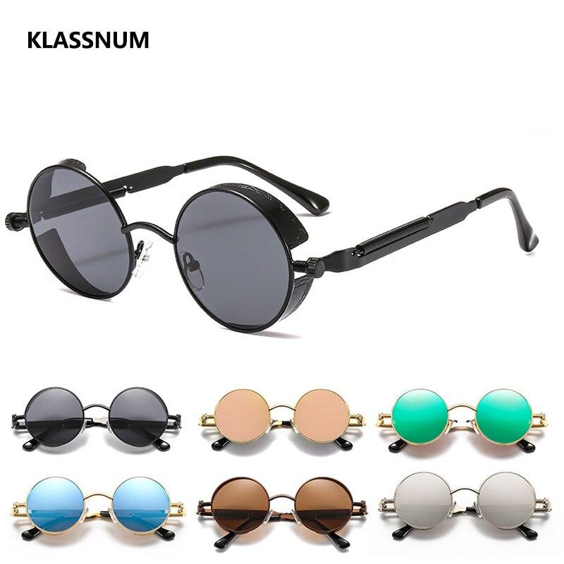KLASSNUM Classic Gothic Steampunk Sunglasses Women Brand Designer Vintage Round Metal Frame Sun Glas