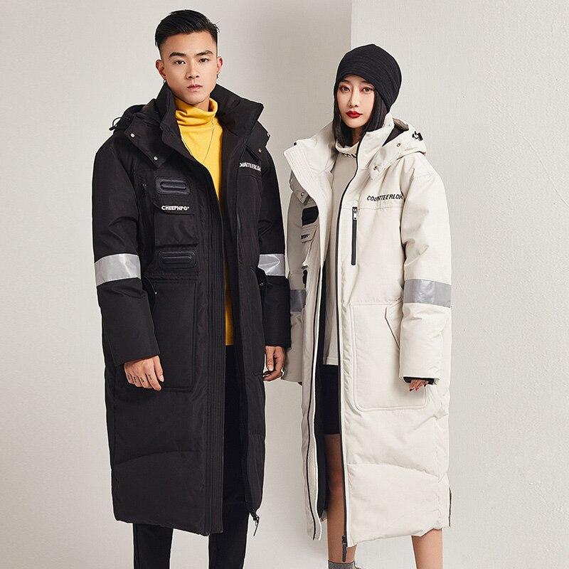 Мужской длинный пуховик, Корейская модель молодежной утепленной куртки на белом утином пуху, Брендовое Взрывобезопасное пальто для влюбле...