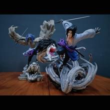 Dessin animé Naruto Uchiha Sasuke deux statues comprennent Ryu Sasuke GK statue pleine longueur Portrait GK figurine modèle jouet boîte 54CM Q240