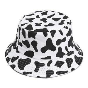 Unisex Bucket Hats Panama Caps for Women and Man Double-sided Wear Cow Print Pattern Fisherman Hat Cotton Soft