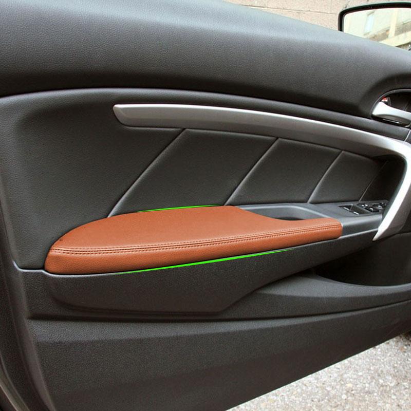 Frente del coche de la manija de la puerta reposabrazos Panel de cuero de microfibra de la cubierta Interior Trim para Honda Accord 8th Coupe 2008, 2009, 2010, 2011, 2012