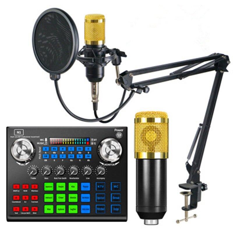 BM 800 ميكروفون أطقم مع N1 كارت الصوت BM800 ميكروفون المهنية مكثف ميكروفون للكمبيوتر بودكاست الألعاب TikTok DJ
