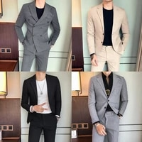 autumn and winter mens british casual suit two piece double breasted slim fit mens suit