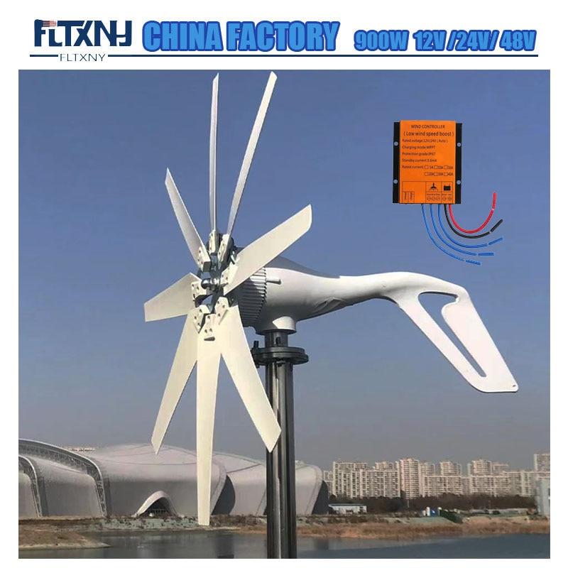 FLTXNY POWER 900W 12v 24v 48v 8 Blades Wind Turbine Generator Wind Turbine Generator With mppt Controller