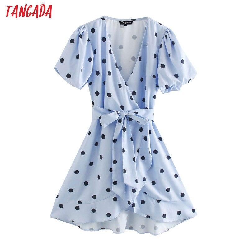 Moda de mujer Tangada, vestido de verano de lunares azules, puff, manga corta con ojal, vestido elegante para señora OL XN346