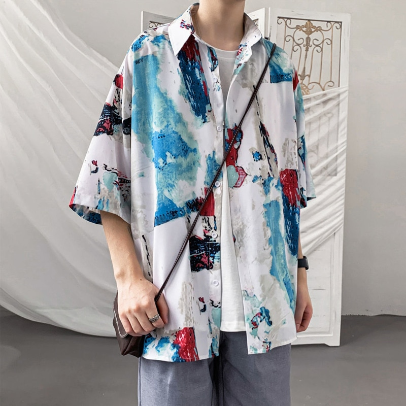 Summer Short-sleeved Shirts Men's Fashion Printed Casual Shirts Men Streetwear Loose Flower Shirts Mens Hawaiian Shirts M-5XL