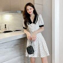 COIGARSAM Office Lady Polka Dot Women one-piece dress korean New Summer Turn-down Collar Dresses White 3317