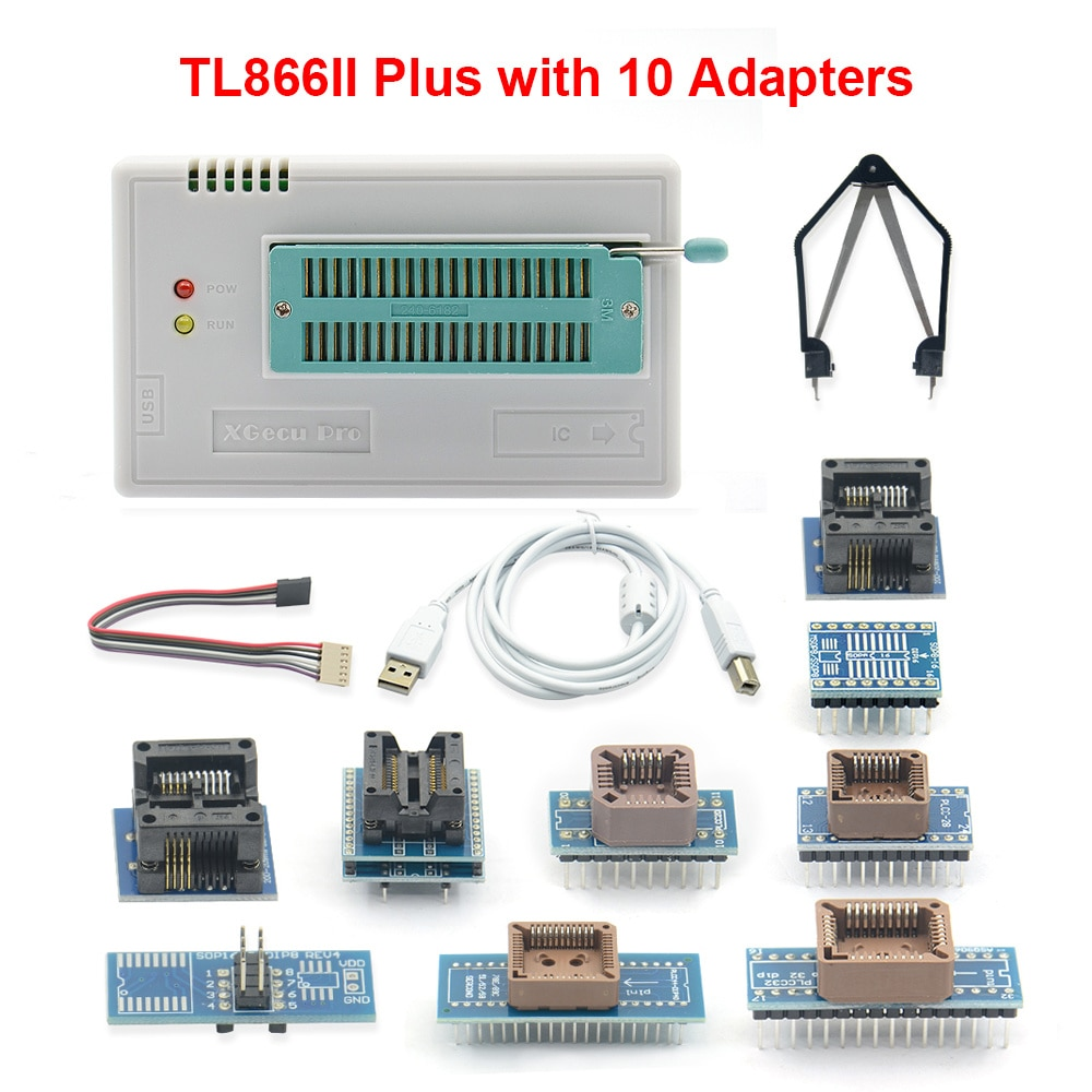 USB Universal Programmer TL866II Plus Programmer Flash Programmer for EEPROM Flash 8051 AVR MCU GAL PIC with 10 Adapter best price carprog full v4 1 21 adapter programmer with all softwares radios odometers dashboards immobilizers