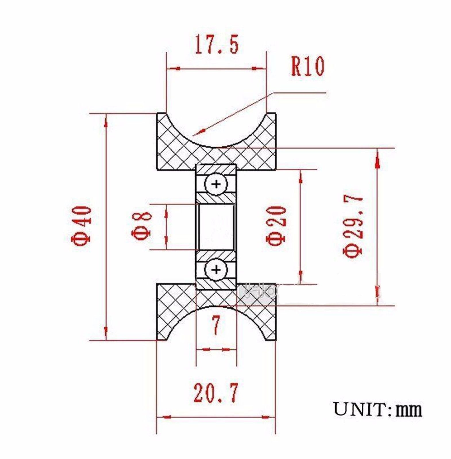 1pcs 0840UU 8mm 8x40x20.7mm Groove Guide Pulley Sealed Rail Ball Bearing