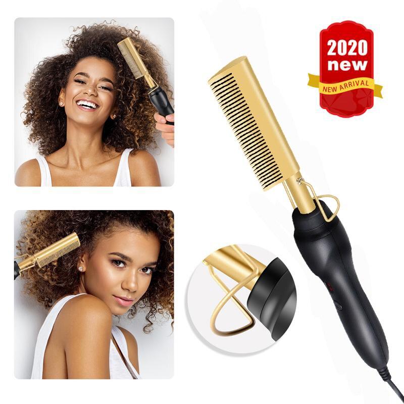 Peine caliente alisador de pelo planchas planas cepillo de pelo rizado profesional rizador de pelo de aleación de titanio peine respetuoso con el medio ambiente