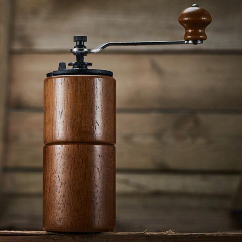 دليل مطحنة حبوب القهوة مطحنة خشبية الحديد الزهر لدغ سعة كبيرة قابلة للتعديل 27RE