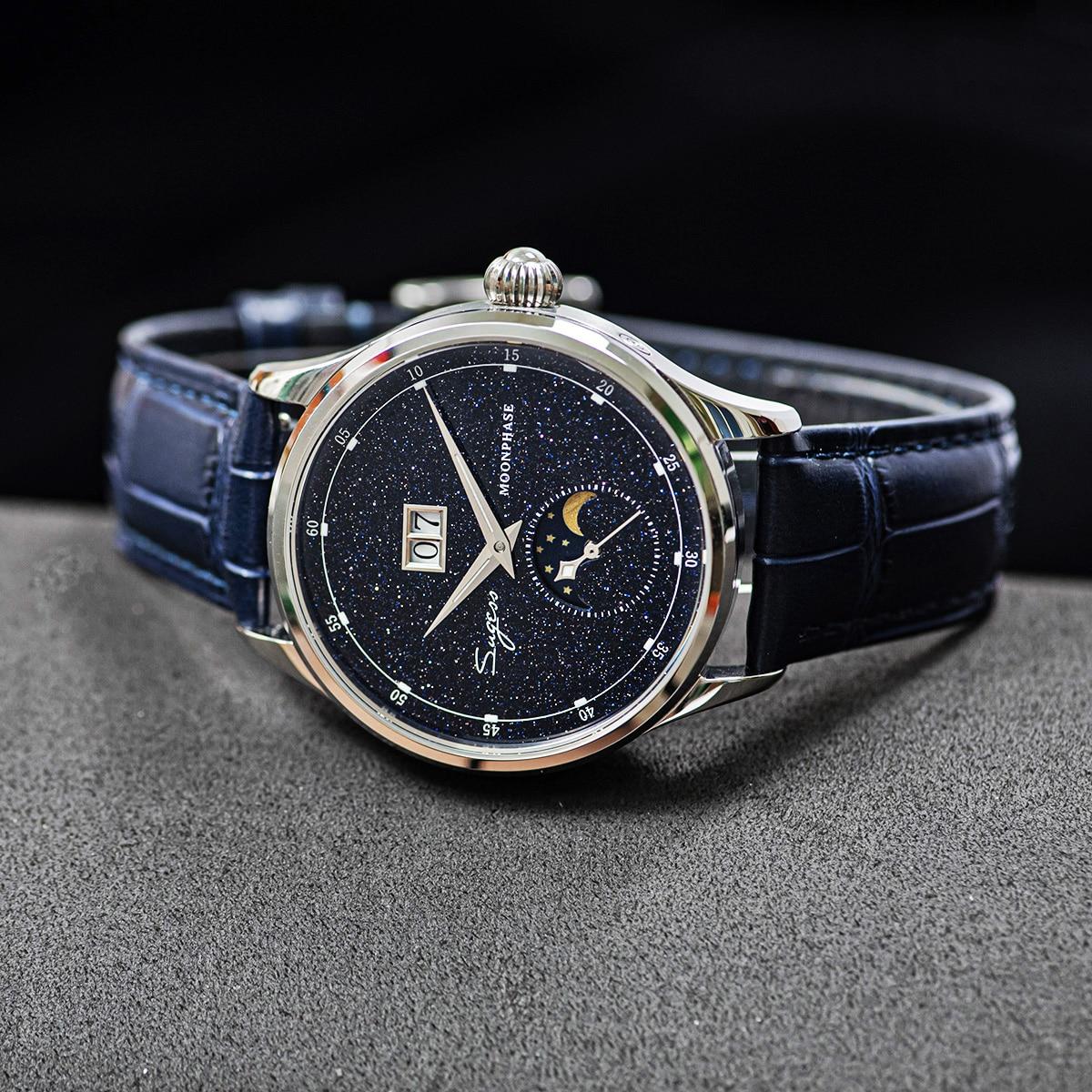 Sugess النورس ST2528 حركة الميكانيكية ساعة اليد الرجال الفاخرة ريال الأزرق حجر الاتصال الهاتفي حاوية من الفولاذ المقاوم للصدأ Moonphase ساعة