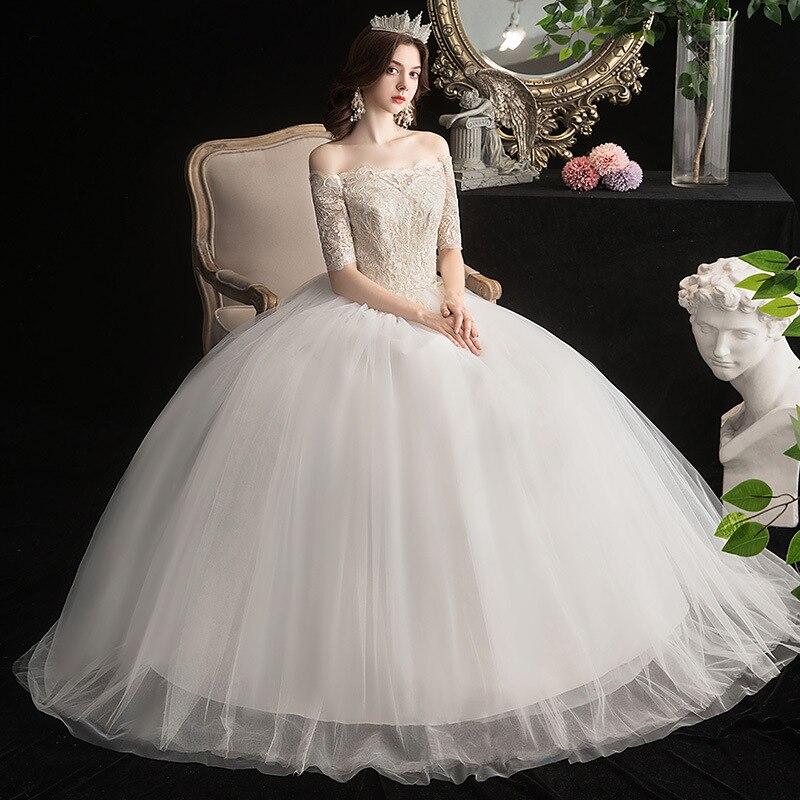 Sexy Wedding Dress Embroidery Plus Size Wedding Dresses 2020 Lace Up Half-sleeve Bride Dresses Ball Gowns Vestido De Novia