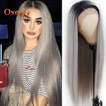 Perruque Lace Front Wig synthétique Ombre grise-Oxeely   Perruque lisse grise argentée naturelle et longue résistante à la chaleur pour femmes noires