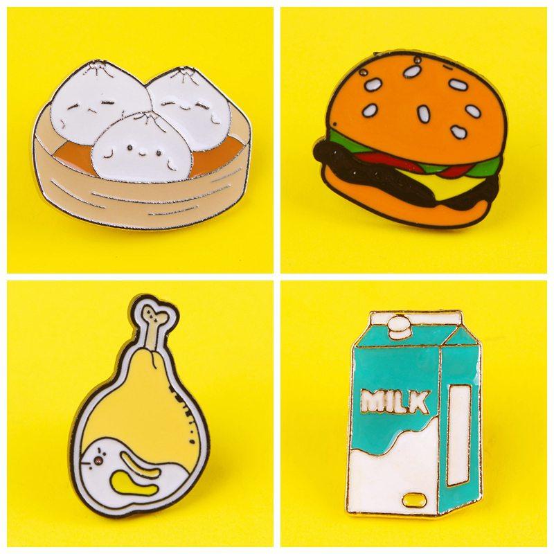 Праджня значки с изображением еды Значки для одежды на рюкзак из цинкового