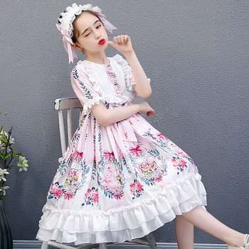 Girls Lolita Dress Short Sleeve Charlotte Dress Japanese Princess Dress Children's Show Chiffon Printed Dress