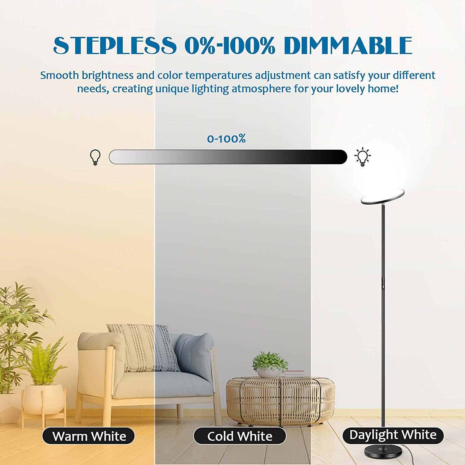 25W smart dimmable floor lamp WiFi color changing LED standing lamp, reading lamp, suitable for living room and bedroom enlarge