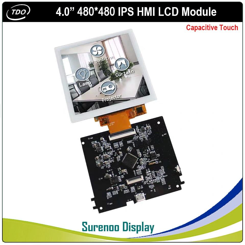 4,0 pulgadas 480*480 HMI inteligente IPS módulo TFT LCD pantalla con Panel táctil capacitivo para el Hogar Inteligente
