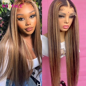 Highlight Straight Lace Front Human Hair Wig 180% Density With Baby Hair Brazilian 8-24'' Remy Wig Medium Ratio for Black Women