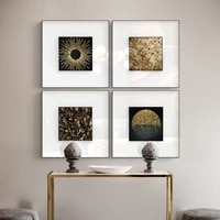 abstract geometry luxury picture home decor wall art canvas painting gold pieces posters and prints art decor for living room