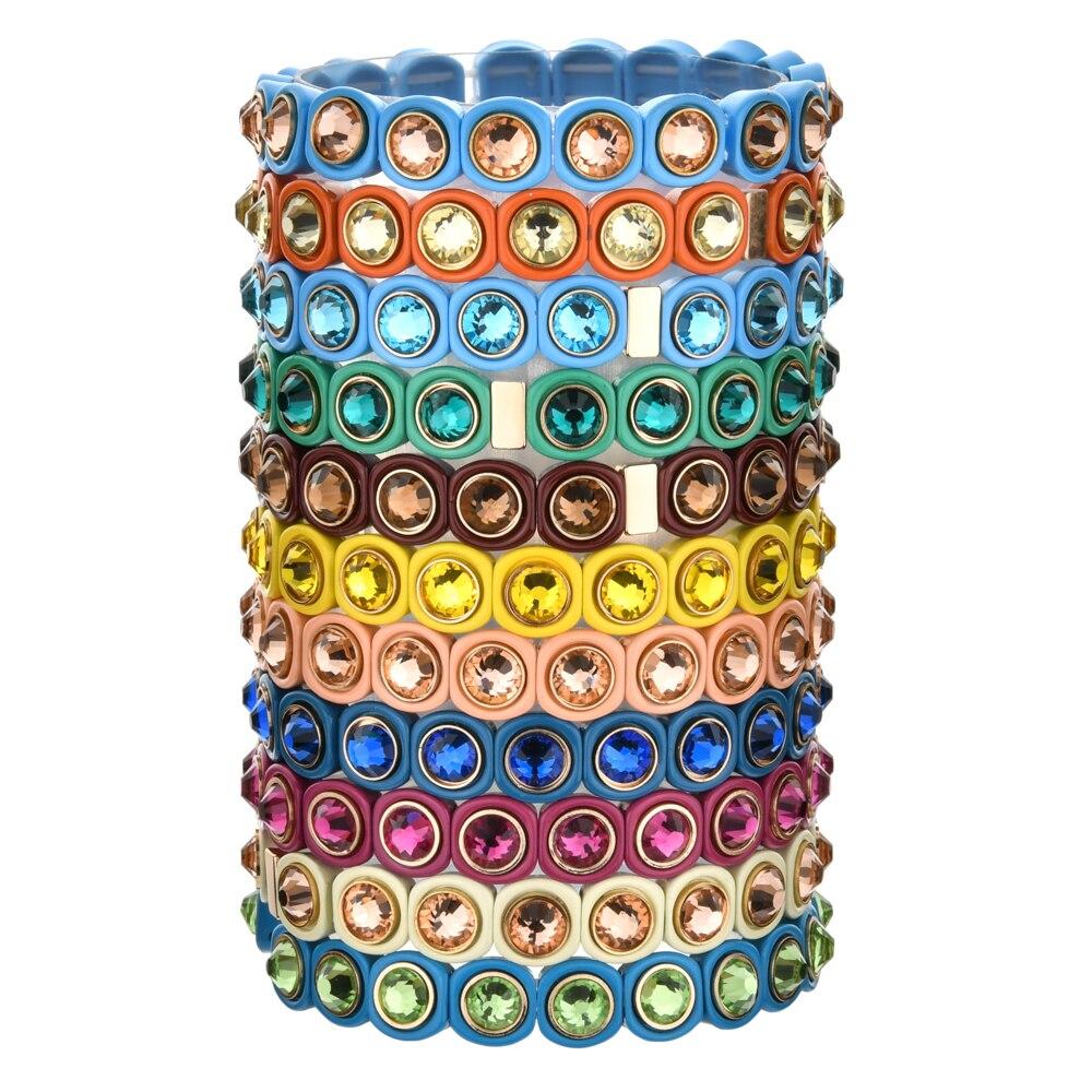 Pulsera elástica de cristal Multicolor arco iris de moda pulsera de cuentas de mosaico de vidrio elástico de esmalte para mujer pulsera de la amistad