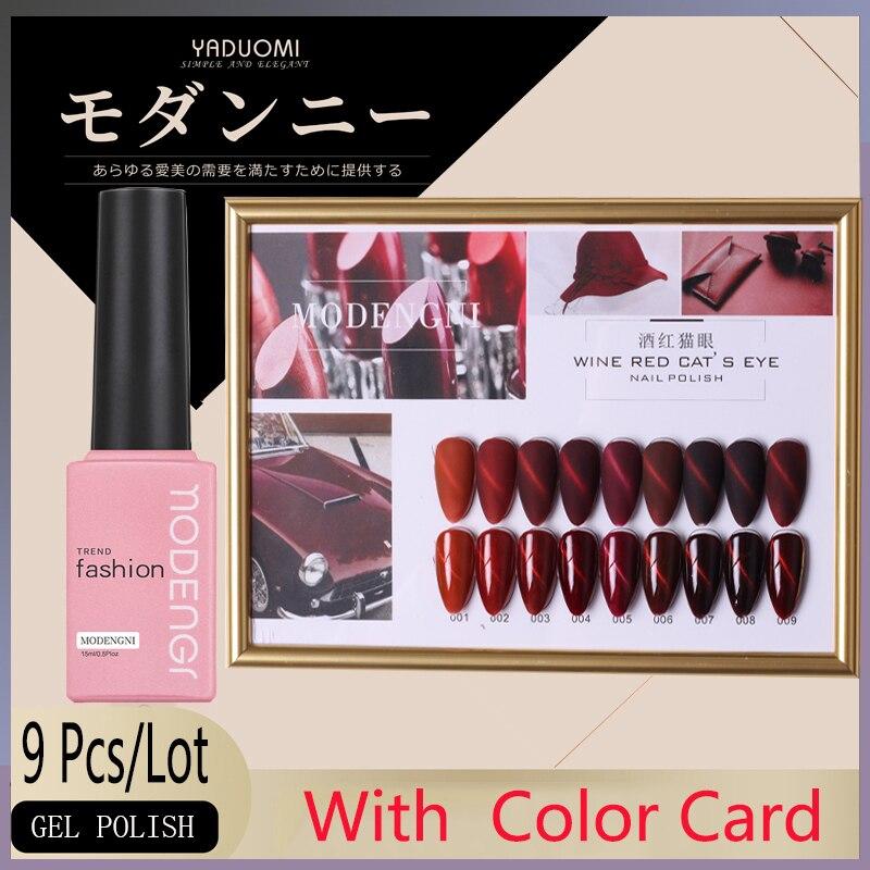 9 pçs prego gel polonês conjunto kit 3d red cat eye gel uv led conjunto da lâmpada do salão de beleza da arte do prego para ferramentas de manicure com cartão de cor frete grátis