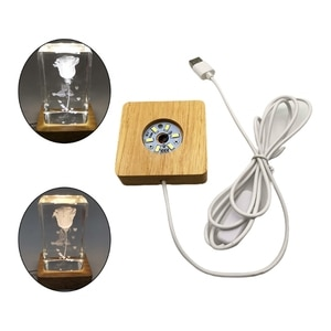 LED Night Light Wooden Square Base Holder Display Stand for Crystals Glass Ball 652A