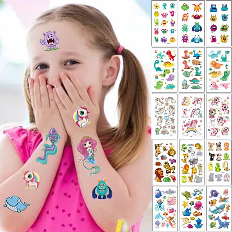Tatouage pour enfants, 10 feuilles/ensemble, dessin animé, licorne arc-en-ciel, faux autocollants, tatouages temporaires, bras à main, Art étanche