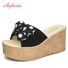 Aphixta flocon de neige noeud 9cm chaussons compensés plate-forme Appliques fleur lapin filles plage antidérapant femme sandales chaussures diapositives femmes