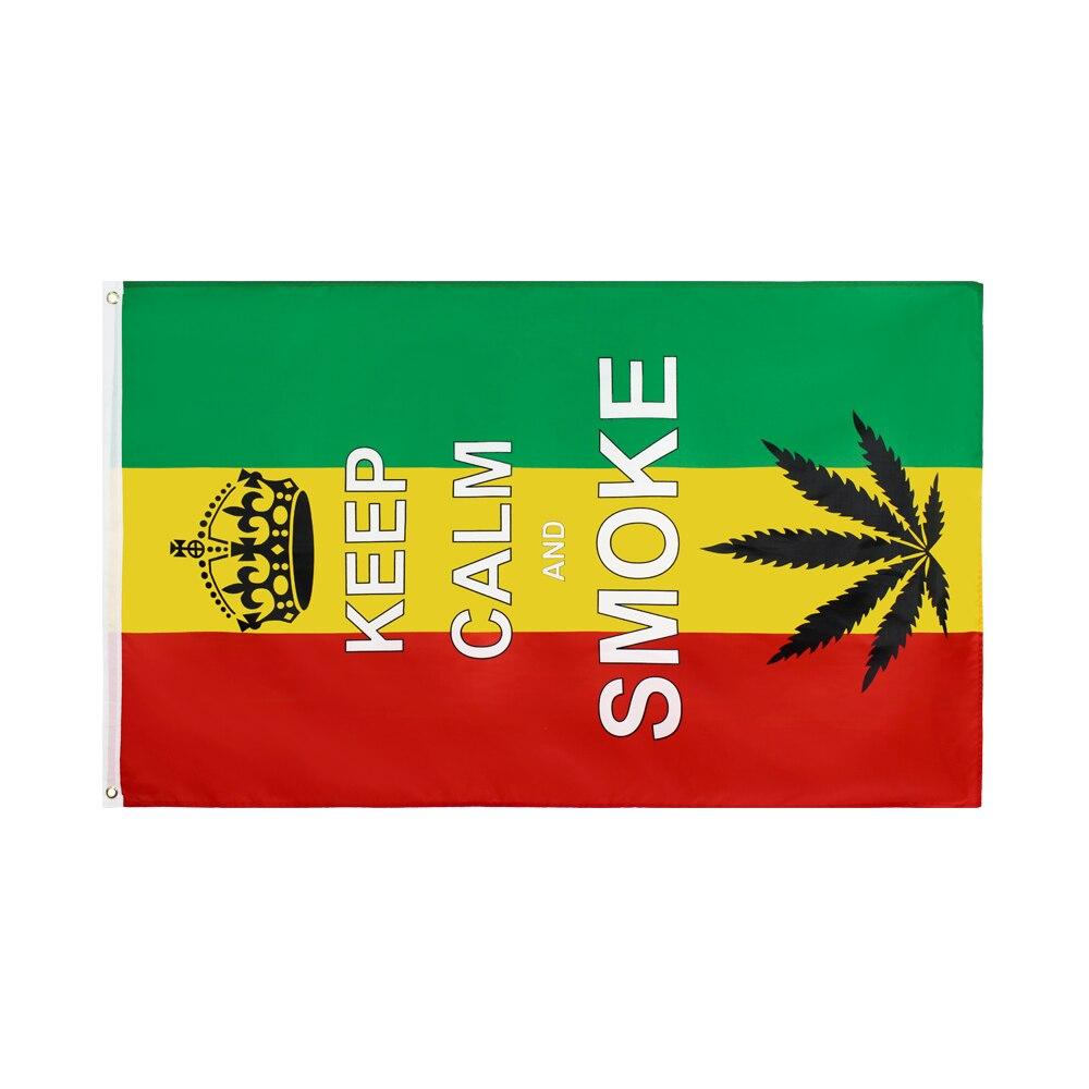 90x150cm mantenha a calma e fume a bandeira da folha