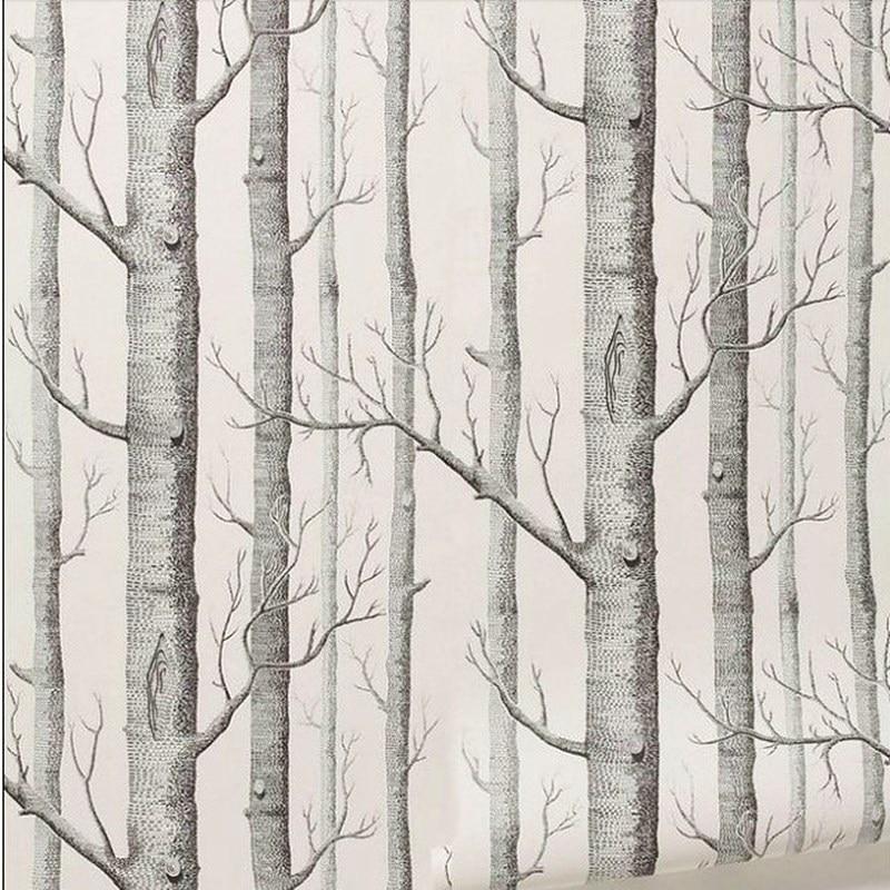 Papel pintado de abedul blanco negro 3D impermeable moderno simplicidad Estilo nórdico bosque madera papel tapiz rollo dormitorio sala de estar