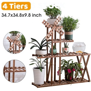 NEW Carbonized Wood Damp-proof Antiseptic Flower Rack Multi-layer Plant Stand Shelves  With Wheels for Garden Patio Balcony