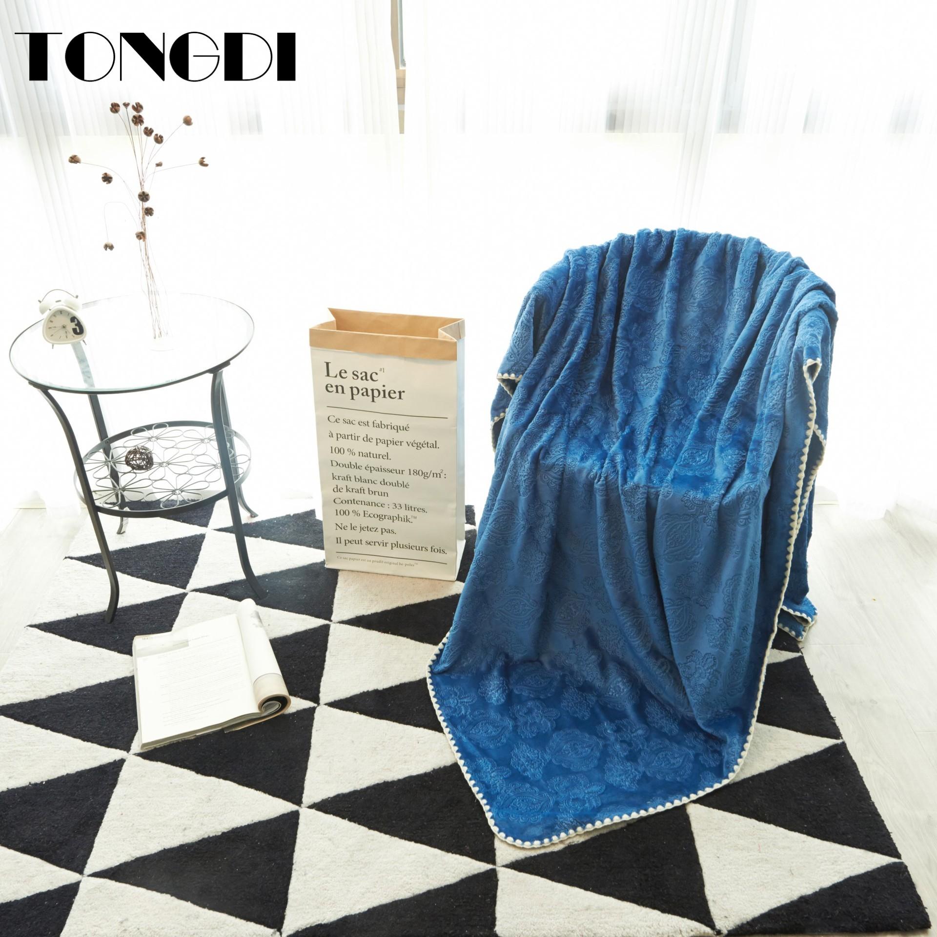 TONGDI Soft Warm Light Fannel Fleece Luxury Pattern Lace Fur Blanket Solid Winter Couch Cover Bed Machine Wash Blanket Bedspread