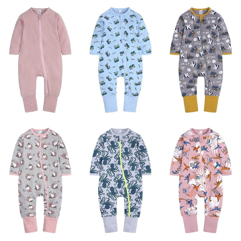 Spring Autumn New Baby Onesies Fashion Cartoon Dinosaur Zipper Kids Clothes Cotton Long Sleeve Newbo