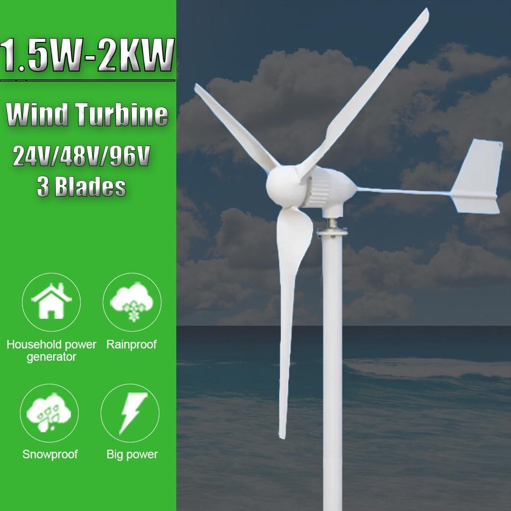 1.5KW 2KW 24V/48V/96V Wind Turbine Power Generator Gasoline Portable Generator With MPPT Controller For Home Farm Use
