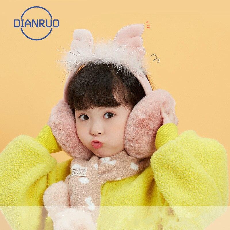 LINLING coupe-vent hiver en plein air enfants cache-oreilles chaud belle ange aile bandeau filles en peluche confort élastique cache-oreilles cadeau N657