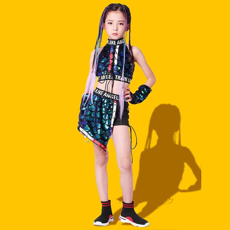 الجاز الفتيات أزياء رقص الأطفال الترتر بلايز السراويل الهيب هوب أداء الملابس الحديثة لامعة المرحلة الزي