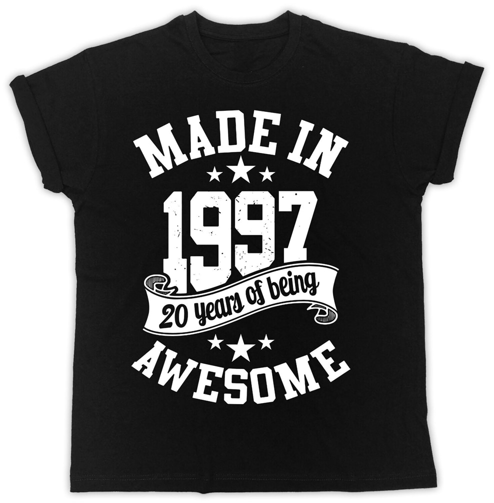Hecho en 1997 20 cumpleaños regalo Ideal Unisex negro camiseta moda Streetwear camiseta