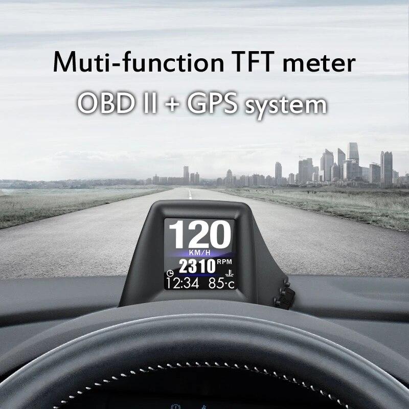 GPS+OBD HUD Head-Up Display Dual System Smart Gauge Driving Stopwatch Speedometer Odometer Digital Meter Alarm System A401