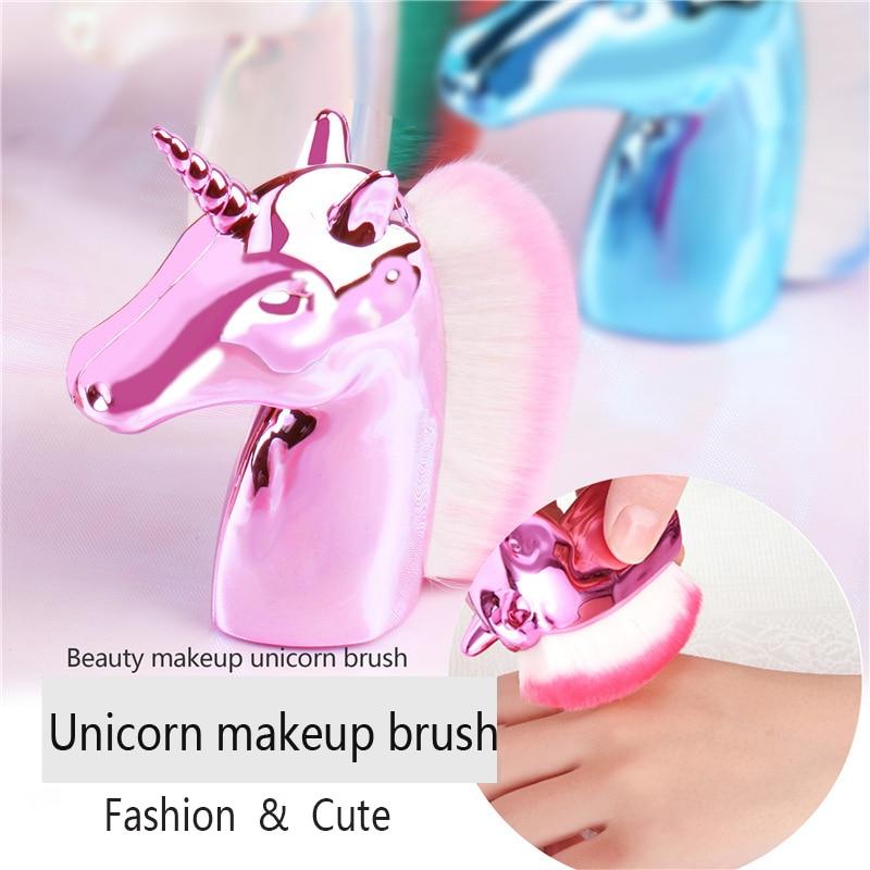 1 Uds. Unicornio Arco Iris maquillaje cepillos de base de polvo rubor contorno brocha cara belleza pinceles utensilios cosméticos 6 colores opcional