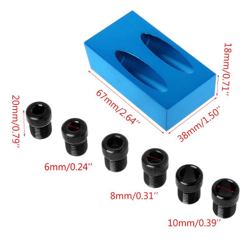 8 Uds agujero de bolsillo Jig Kit 15°Angle 6/8/10mm adaptador oblicuo Drill Guide Puncher Locator Set carpintería herramientas N1HF