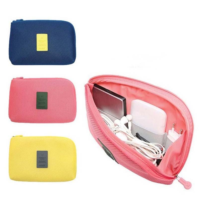 Travel Storage Bag Mesh Cloth For Digital Gadget Cable USB Cable Earphone Pen Cosmetic Bags Organize