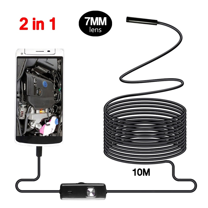 7Mm Endoscoop Camera Micro Usb Mini Camcorders 10 M Flexibele IP67 Waterdicht 6 Led Video Inspectie Borescope Voor Android telefoon