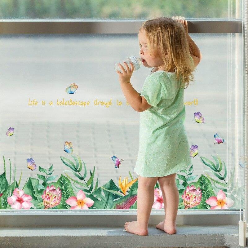 126*50cm flor grama rodapé arte cozinha adesivo de parede borboleta decoração para casa estilo nórdico decoração do quarto à prova dwaterproof água removível
