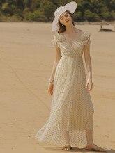 Femmes dété robe dété plage décontracté à pois Boho robe Sexy dos nu Vintage élégant vacances bohème maille longue robe 2020