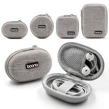 Petit ovale écouteurs sacs de rangement coquille dure données câble organisateur sac Mini Tech Gadgets Portable étui chargeur U disque fermeture éclair pochette