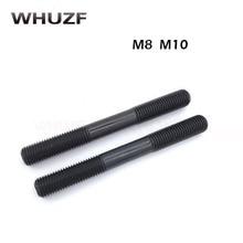 10pcs 8.8 Grade Carbon Steel Metric Standard Stud Bolts Screw Rod Tooth Stick Double Head M8*30/40/50/60--100mm